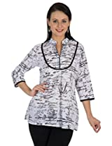 Sohniye White and Black Cotton Kurti