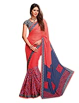 Shoppingover Blue with Pink Saree in Georgette
