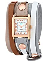 La Mer Collections Women's LMLWMIX1008 Gold-Tone Stainless Steel Watch with Wraparound Leather Band