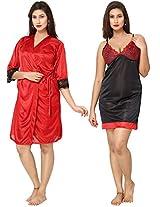 Fashigo Women's 2 Piece Satin Nighty (Free Size)