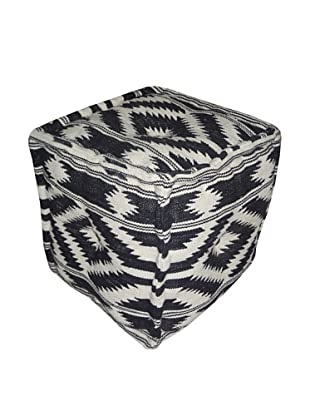 Boheme Collection Cotton Pouf, Cube, Black/ White