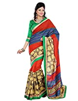 Riti Riwaz Multi Chapa Silk Printed saree with unstitched blouse RPS6212A