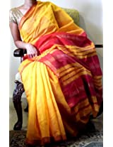 Handwoven Maheshwari Sari- Yellow & Red