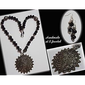 B Jeweled Black Onyx Crystal Neckpiece jewellery Set