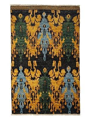 Darya Rugs Ikat Oriental Rug, Yellow, 4' 7