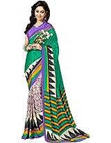 Pagli green with multicolor stripes printed crepe saree