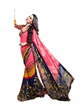 Pink , Yellow & Blue Color Chiffon Georgette Saree with Border and Blouse 6215