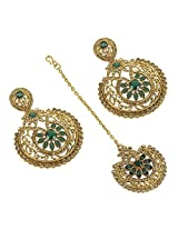 Indian Bollywood Design Charm Look Polki Earring With Maang Tikka For Women Exclusive Jewelry