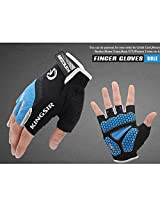 1 Pair Outdoor Sport Gloves Summer Cycling Bike Bicycle Riding Gym Fitness Half Finger Gloves Shockproof Mittens (Blue, XXL)
