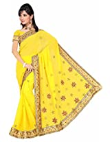 Somya Women's Embroidered Chiffon Yellow Saree with Booti work