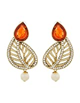 Fashionable Gold Plated Orange Earrings for Women ER-1459