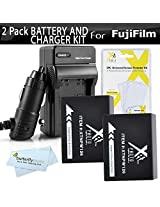 2 Pack Battery And Charger Kit For Fuji Fujifilm FinePix HS30EXR X-Pro1 X-Pro 1 HS33EXR X-E1 HS50EXR X-M1 X-A1 X-E2 X-T1 Digital Camera Includes 2 Extended Replacement (1800Mah) NP-W126 Batteries + Ac/Dc Travel Charger + Screen Protectors + More
