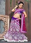 VandV-Gracious Magenta Purple Pink Heavy Embroidered Net Lehenga Choli