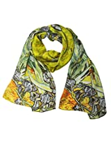Wrapables Luxurious 100% Charmeuse Silk Long Scarf with Hand Rolled Edges, Van Gogh's Irises