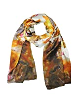 Wrapables Luxurious 100% Charmeuse Silk Floral Painting Long Scarf with Hand Rolled Edges, Water Lilies