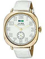 La Mer Collections Unisex LMOVW2038 Gold-Tone Watch with White Leather Band