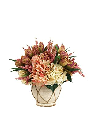 Creative Displays Cream & Pink Peony with Hydrangea in Cream Rope Pot
