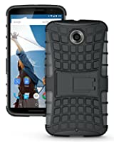 JKase DIABLO Tough Rugged Dual Layer Protection Case Cover with Build in Stand for Google Nexus 6 (Black)