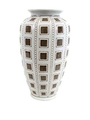 Rhonda Vase, White/Brown