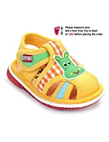 Cute Walk Baby Sandal Velcro Closure - Animal Face Applique