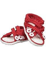 Jefferies Socks Baby-Girls Criss Cross Sandal Crochet Bootie, Red, Newborn