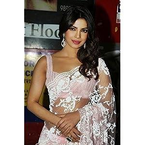 Priyanka chopra designer baby pink saree-Frinkytown
