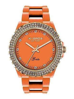 K&BROS 9552-2 / Reloj de Señora  con correa de plástico naranja