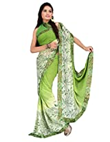 Cenizas Georgette Saree With Blouse Piece (5045Srivikagrn -Green)