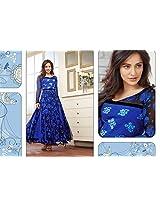 Neha Sharma Blue & Black Georgette Top With Santoon Bottom & Chiffon Dupatta Embroidery & Print Work Anarkali Salwar Suit Set