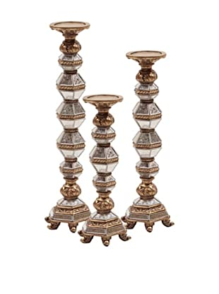 Howard Elliott Set of 3 Antique Mirrored Candle Sticks (Gold)