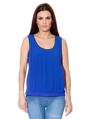 Cortefiel T-Shirt Plisseefalten (Blau)