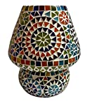 Priyal Artz Multi Colored Table Lamp With Bed Side On/Off Switch And Brass Holder