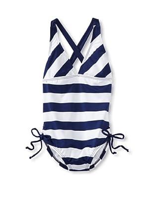 Splendid Girl's Marcel Stripe One Piece Swimsuit (Navy/White)