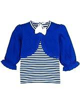 Infant Girls T-Shirt With Mock Shrug, Royal Blue (0-6 Months)