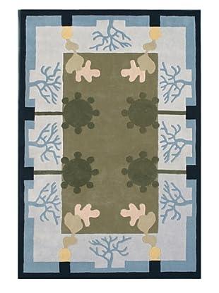 Gardens for XpressWeave Four Seasons Rug (Blue/Tan/Grey/Navy)