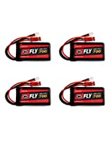 Venom Fly 30 C 1 S 700m Ah 3.7 V Li Po Battery With Micro Losi And Jst Plugs For Rc Airplane & Helicopter X4 Packs