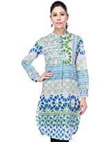 STOP to start Women's Kurta (9351247-Blue-Medium)