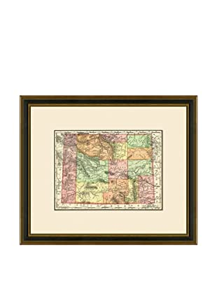 Antique Lithographic Map of Wyoming, 1886-1899