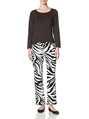Aegean Apparel Women's Pajama Set (Zebra Print)