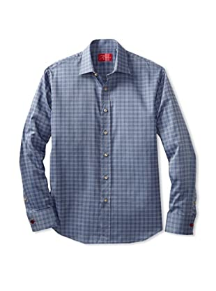 Rufus Men's Check Plaid Shirt (Blue Plaid)