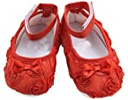PinkXenia infant Red Rosset Shabby Flower BabyGirl antiskid prewalker Cute crib shoes Sandals