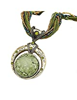 WomanWa Green Metal Necklace With Pendant for Women