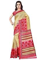Silk Bazar Women's Tassar Silk Saree with Blouse Piece (Mustard & Pink)