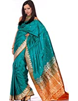 Exotic India Valkalam Banarasi Saree with Golden Bootis and Brocaded Anchal - Color Tile BlueColor Free Size