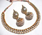 Necklace sets - Golden Big Gota Pearl Polki Necklace Set