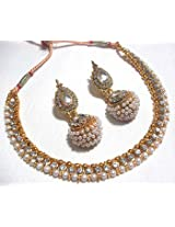 Necklace sets - Golden Big Gota Pearl Polki Necklace Set