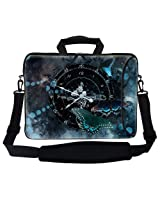 Meffort Inc 15 15.6 inch Neoprene Laptop Bag Sleeve with Extra Side Pocket Soft Carrying Handle & Removable Shoulder Strap for 14 to 15.6 Size Notebook Computer - Buttefly Clock Design