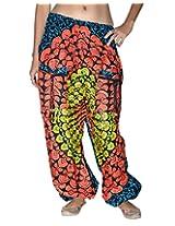 Famacart Women Pocket Printed Harem Pant Free Size Orange
