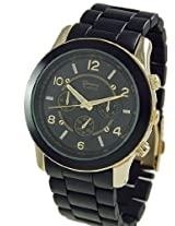 Geneva Platinum 9158 Women's Decorative Chronograph-style Matte Finish Link Watch -BLK/GOLD
