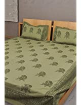 Rajrang Green Cotton Hand Block Printed Bedsheet Set Of 3 Pcs #Bst01293